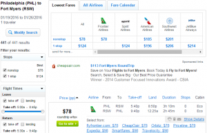 Philly to Ft Myers: Fly.com Results Page