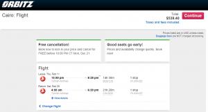 Boston to Cairo: Orbitz Booking Page
