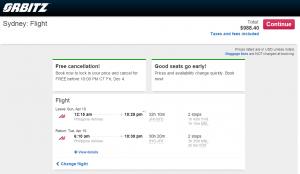 NYC to Sydney: Orbitz Booking Page