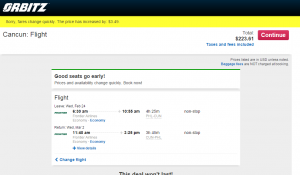 Philly to Cancun: Orbitz Booking Page