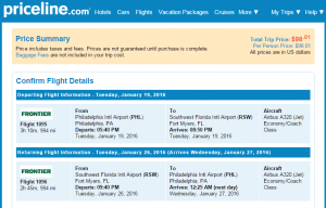 Philly to Ft Myers: Priceline Booking Page