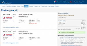 NYC to Seoul: Travelocity Booking Page