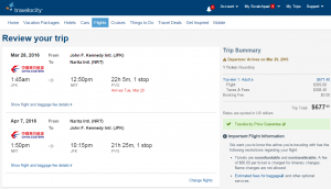 NYC to Tokyo: Travelocity Booking Page
