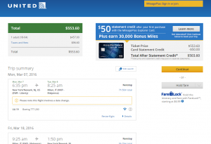 NYC to Milan: United AIrlines Booking Page