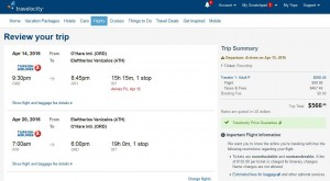 Chicago-Athens: Travelocity Booking Page