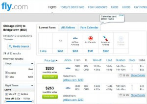 Chicago-Bridgetown: Fly.com Search Results