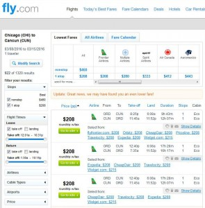 Chicago-Cancun: Fly.com Search Results
