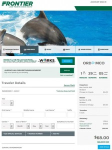 Chicago-Orlando: Frontier Airlines Booking Page