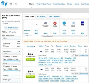 Chicago-Paris: Fly.com Search Results (LOT)