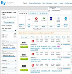 Chicago-Paris: Fly.com Search Results (Turkish)