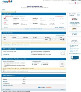 Chicago-Seoul: CheapOair Booking Page