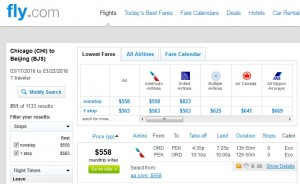 Chicago to Beijing: Fly.com Results