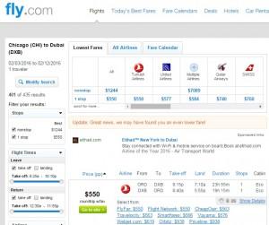 Chicago to Dubai: Fly.com Results