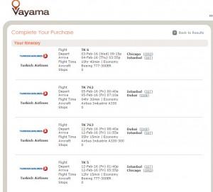Chicago to Dubai: Vayama Booking Page