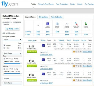Dallas-San Francisco: Fly.com Search Results