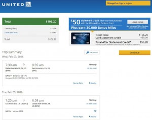 Dallas-San Francisco: United Airlines Booking Page