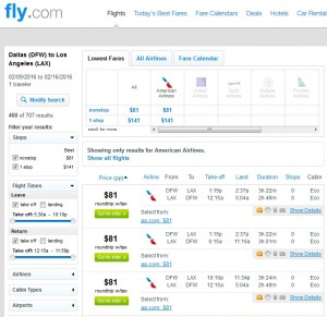 Dallas to Los Angeles: Fly.com Results