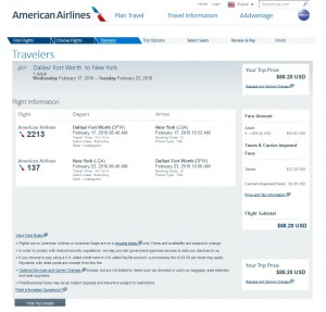 Dallas to New York City: American Airlines Booking Page
