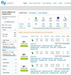 Denver-Los Angeles: Fly.com Search Results