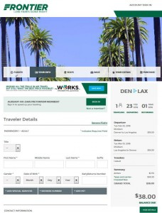 Denver-Los Angeles: Frontier Airlines Booking Page