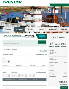 Denver-Memphis: Frontier Airlines Booking Page