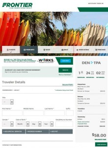 Denver-Tampa: Frontier Airlines Booking Page