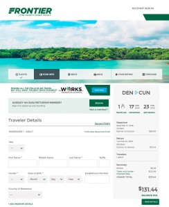 Denver to Cancun: Frontier Booking Page