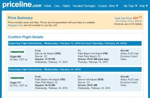 Denver to West Palm Beach: Priceline Results
