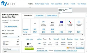 Detroit-Fort Lauderdale: Fly.com Search Results (JetBlue)
