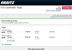 Detroit-Fort Lauderdale: Orbitz Booking Page