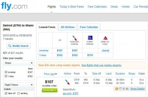 Detroit-Miami: Fly.com Search Results