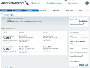 Detroit-New York City: American Airlines Booking Page