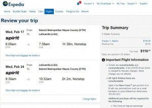 Detroit-New York City: Expedia Booking Page