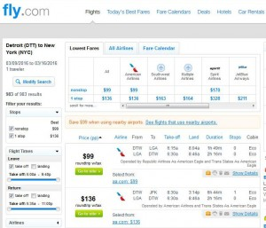 Detroit-New York City: Fly.com Search Results (AA)