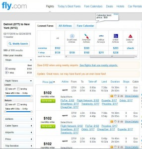 Detroit-New York City: Fly.com Search Results (Spirit)