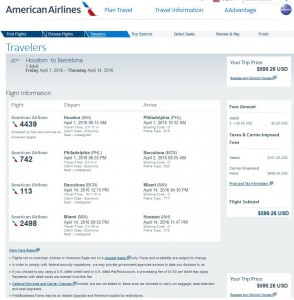 Houston-Barcelona: American Airlines Booking Page