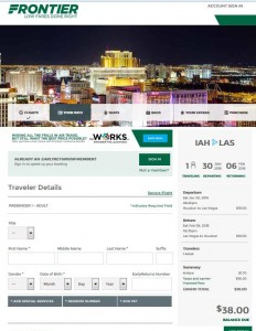 Houston-Las Vegas: Frontier Airlines Booking Page