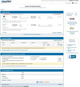 Houston-Lima: CheapOair Booking Page
