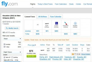 Houston-New Orleans: Fly.com Search Results