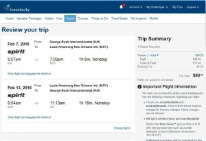 Houston-New Orleans: Travelocity Booking Page