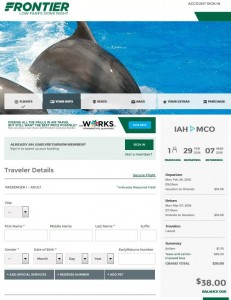 Houston-Orlando: Frontier Airlines Booking Page