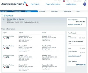 Kansas City-Kahului, Maui: American Airlines Booking Page