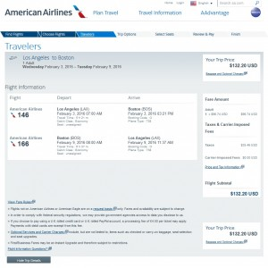 LA to Boston: American Airlines Booking Page
