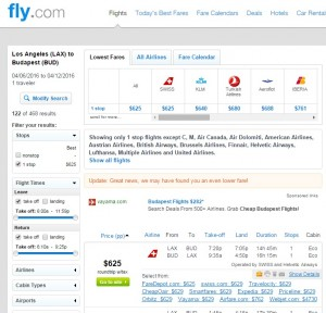 LA to Budapest: Fly.com Results