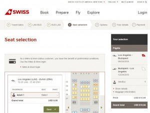 LA to Budapest: SWISS Booking Page