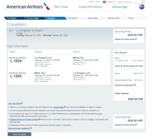Los Angeles to Miami: American Airlines Booking Pages