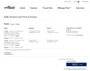 Los Angeles to Orlando: Alaska Airlines Booking Page