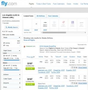 Los Angeles to Orlando: Fly.com Results