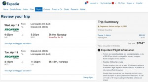 Los Angeles to Orlando: Expedia Booking Page