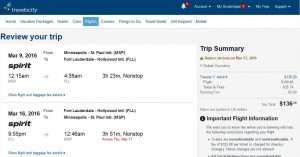 Minneapolis-Fort Lauderdale: Travelocity Booking Page